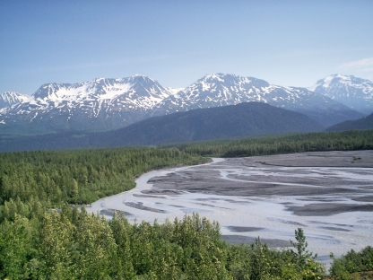 mountains and mudflats